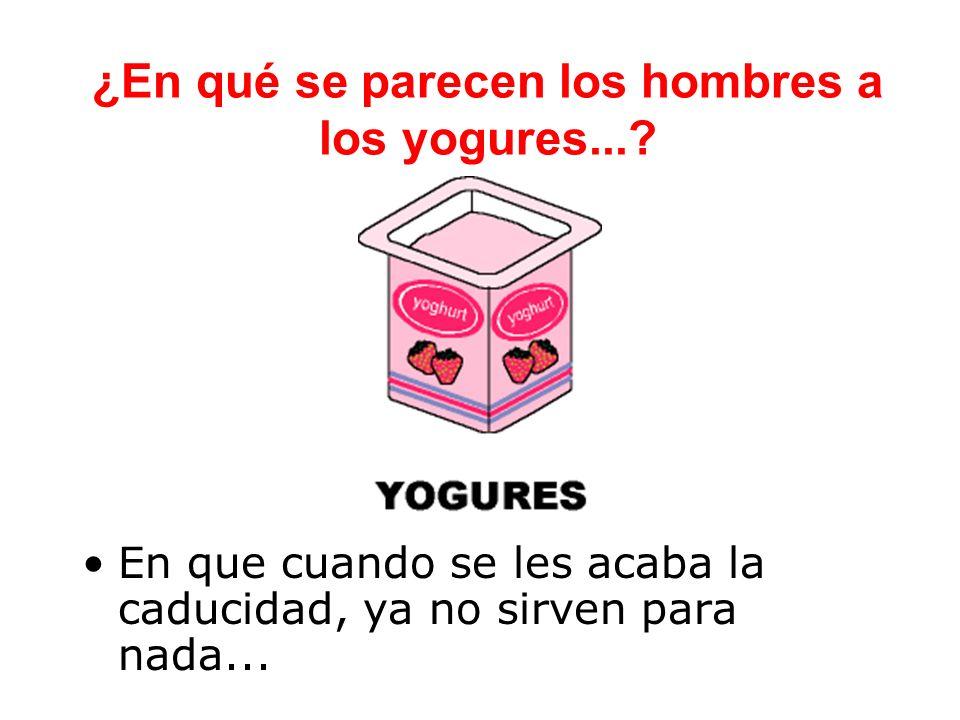 ¿En qué se parecen los hombres a los yogures...? En que cuando se les acaba la caducidad, ya no sirven para nada...