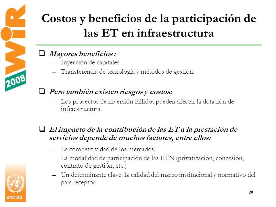 28 Costos y beneficios de la participación de las ET en infraestructura Mayores beneficios : –Inyección de capitales –Transferencia de tecnología y métodos de gestión.