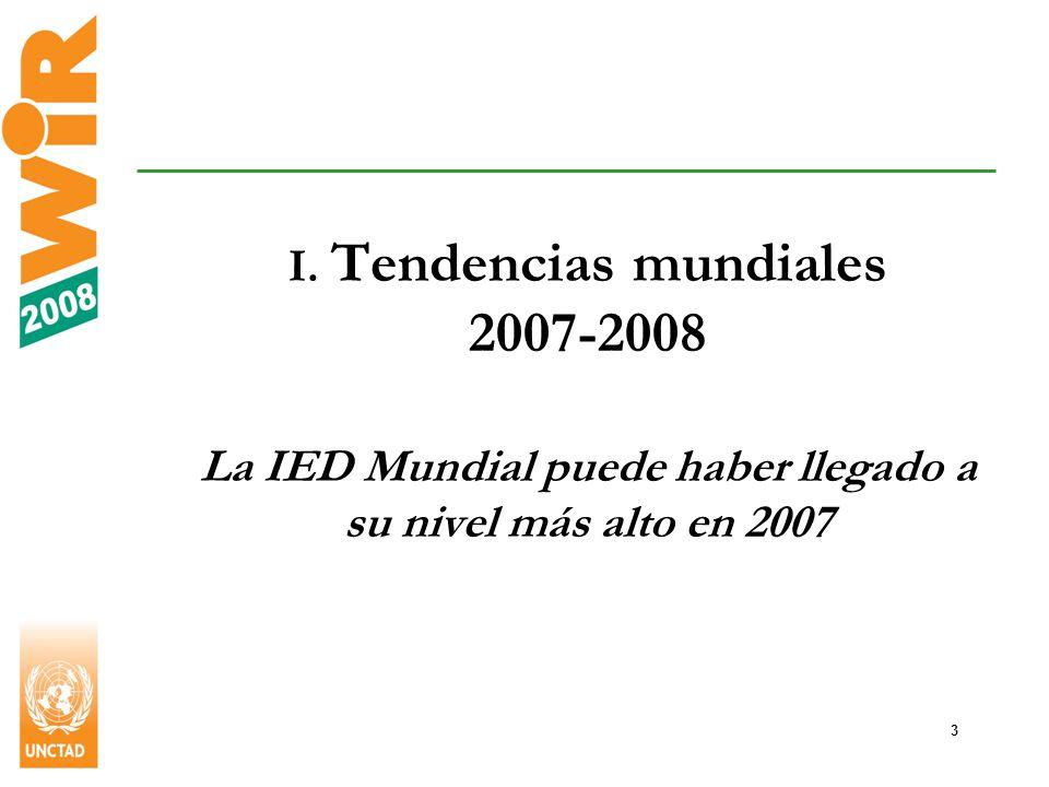 14 América Latina y el Caribe: Los 10 principales países receptores de IED, 2006-2007 Brasil: principal país receptor de la región tras aumento de 84% en los flujos hasta llegar a US$35.000 millones.