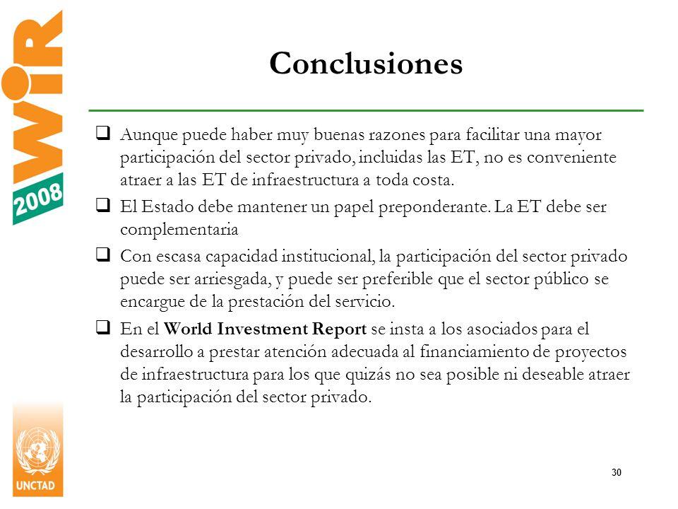 30 Conclusiones Aunque puede haber muy buenas razones para facilitar una mayor participación del sector privado, incluidas las ET, no es conveniente atraer a las ET de infraestructura a toda costa.