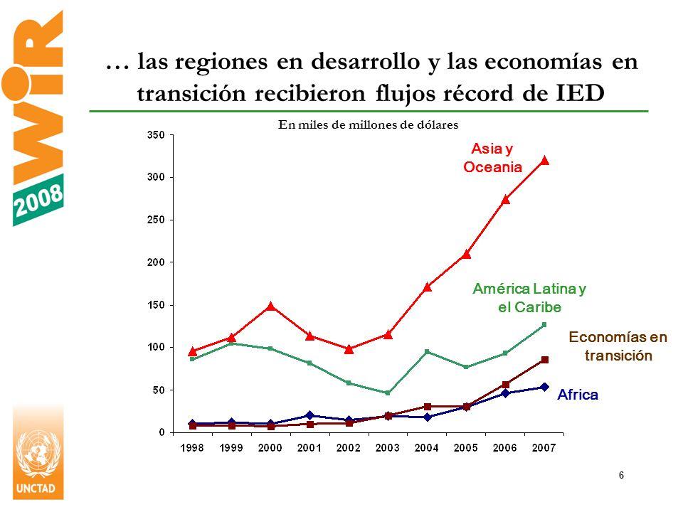 6 … las regiones en desarrollo y las economías en transición recibieron flujos récord de IED En miles de millones de dólares Africa Economías en transición Asia y Oceania América Latina y el Caribe