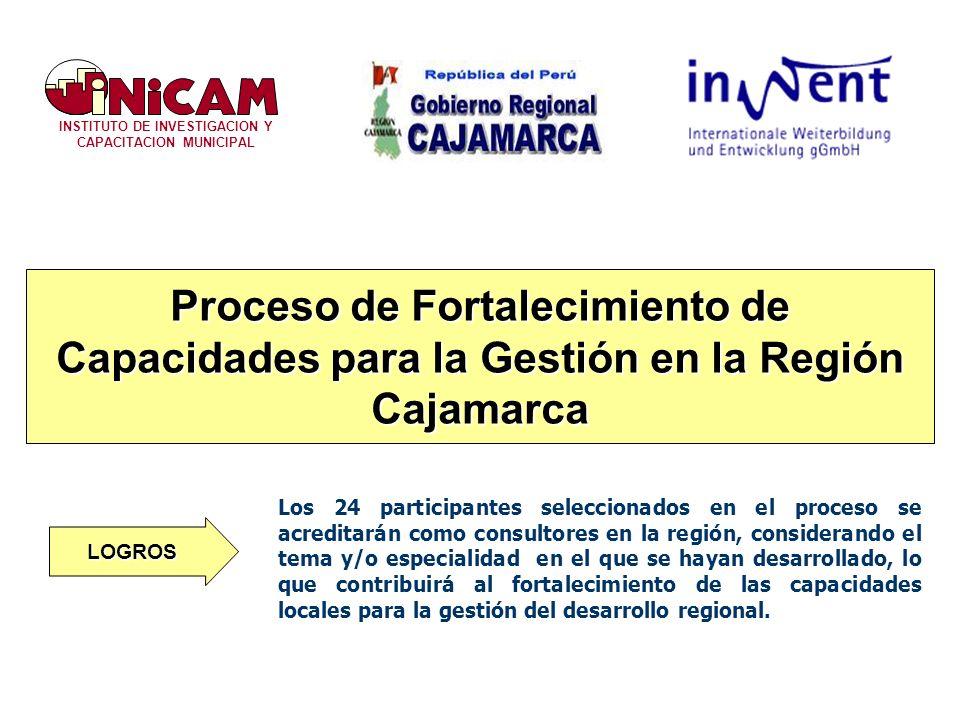 INSTITUTO DE INVESTIGACION Y CAPACITACION MUNICIPAL Proceso de Fortalecimiento de Capacidades para la Gestión en la Región Cajamarca Los 24 participantes seleccionados en el proceso se acreditarán como consultores en la región, considerando el tema y/o especialidad en el que se hayan desarrollado, lo que contribuirá al fortalecimiento de las capacidades locales para la gestión del desarrollo regional.
