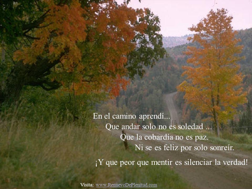 En el camino aprendí...Que andar solo no es soledad...