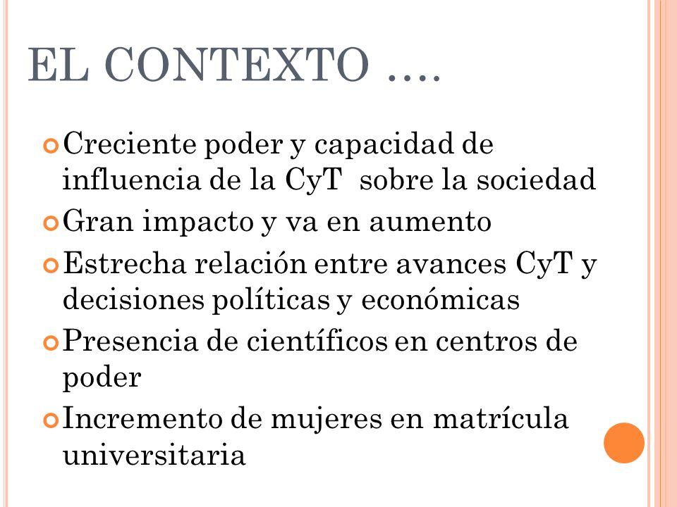 EL CONTEXTO …. Creciente poder y capacidad de influencia de la CyT sobre la sociedad Gran impacto y va en aumento Estrecha relación entre avances CyT