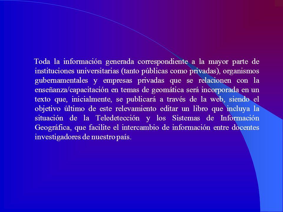 Toda la información generada correspondiente a la mayor parte de instituciones universitarias (tanto públicas como privadas), organismos gubernamental