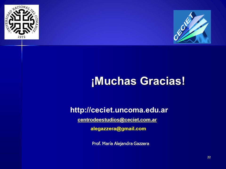 22 ¡Muchas Gracias! ¡Muchas Gracias! http://ceciet.uncoma.edu.ar centrodeestudios@ceciet.com.ar alegazzera@gmail.com Prof. María Alejandra Gazzera
