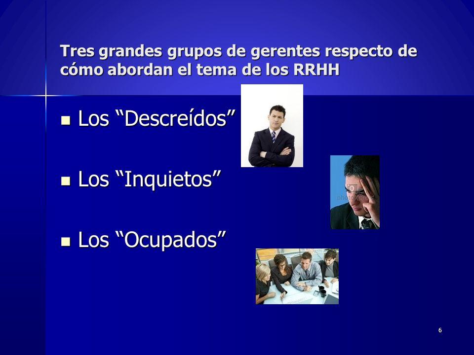 Tres grandes grupos de gerentes respecto de cómo abordan el tema de los RRHH Los Descreídos Los Descreídos Los Inquietos Los Inquietos Los Ocupados Lo