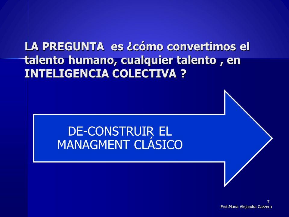 LA PREGUNTA es ¿cómo convertimos el talento humano, cualquier talento, en INTELIGENCIA COLECTIVA ? DE-CONSTRUIR EL MANAGMENT CLÁSICO 7 Prof.María Alej
