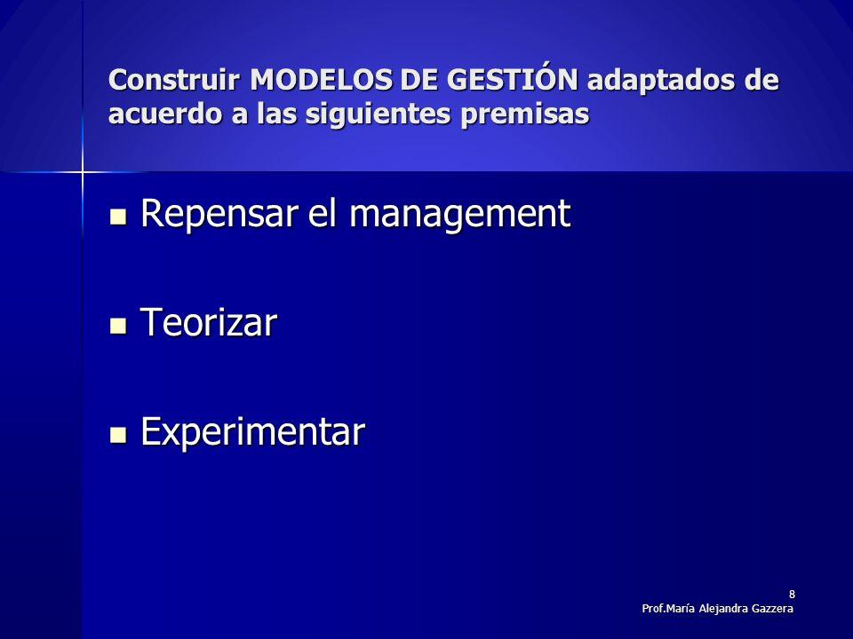 Generaciones en el desarrollo de la GC y metáforas organizativas CARACTERÍSTICA1ERA GENERACIÓN2DA GENERACIÓN3ERA GENERACIÓN 4 TA GENERACIÓN Organización basada en procedimientos Organización que aprende Organización basada en el conocimiento CO-EVOLUCIÓN Conocimiento DIGITALIZADOFLUJOALINEADO A ESTRATEGIA COMPELJO-RACIONAL Actividad Central ALMACENARFACILITAR; DIFUNDIR CREAR VALORINNOVACION,REGENERACI ON Nivel GC HERRAMIENTAMETODOESTRATEGIAORGANIZACIÓN Fuente: Ángel Arboníes,2006 9Prof.María Alejandra Gazzera