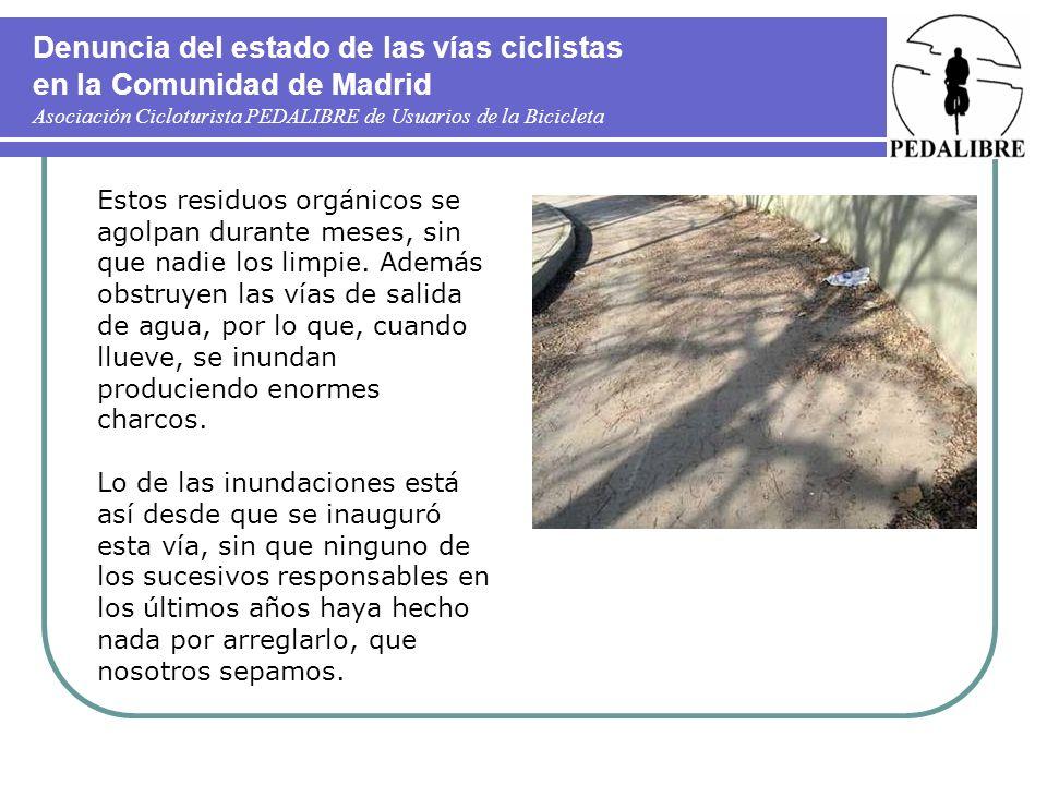 Denuncia del estado de las vías ciclistas en la Comunidad de Madrid Asociación Cicloturista PEDALIBRE de Usuarios de la Bicicleta Estos residuos orgánicos se agolpan durante meses, sin que nadie los limpie.
