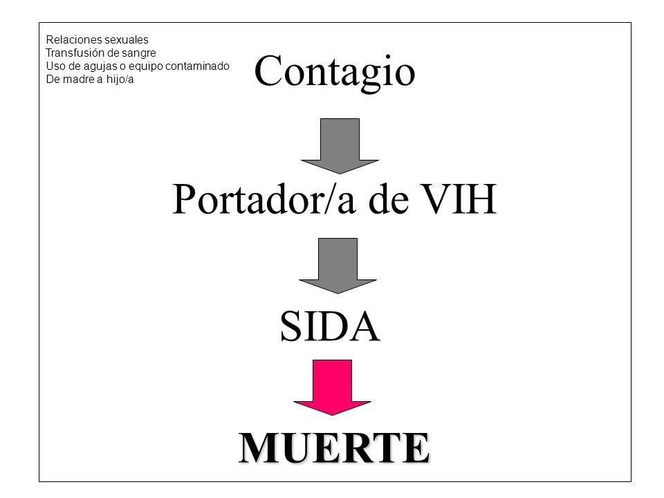 Contagio Portador/a de VIH SIDA MUERTE Relaciones sexuales Transfusión de sangre Uso de agujas o equipo contaminado De madre a hijo/a
