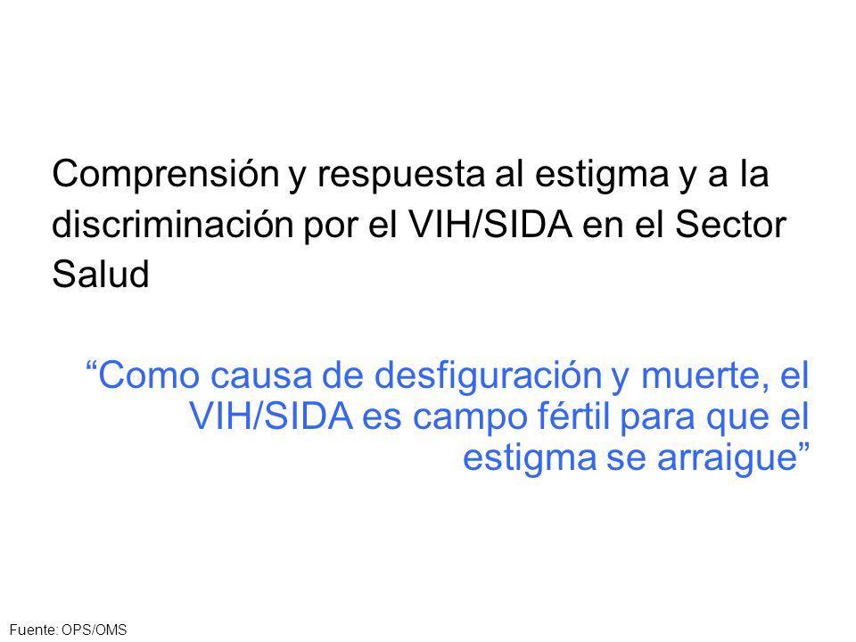 Comprensión y respuesta al estigma y a la discriminación por el VIH/SIDA en el Sector Salud Como causa de desfiguración y muerte, el VIH/SIDA es campo fértil para que el estigma se arraigue Fuente: OPS/OMS