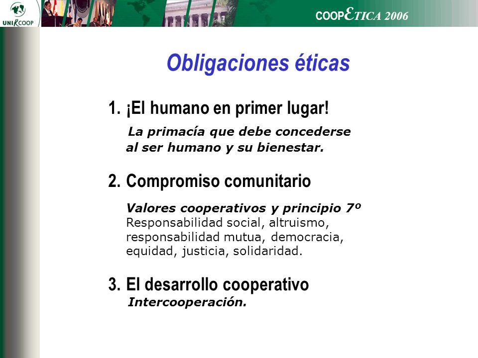 COOP E TICA 2006 1.¡El humano en primer lugar! La primacía que debe concederse al ser humano y su bienestar. 2.Compromiso comunitario Valores cooperat