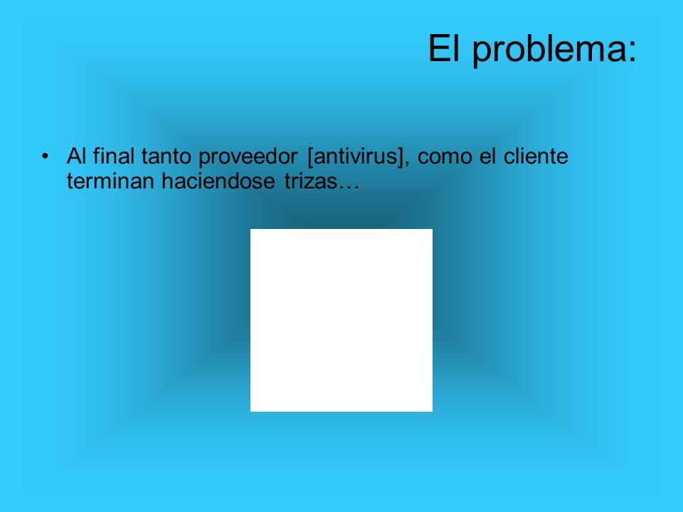 Al final tanto proveedor [antivirus], como el cliente terminan haciendose trizas… El problema: