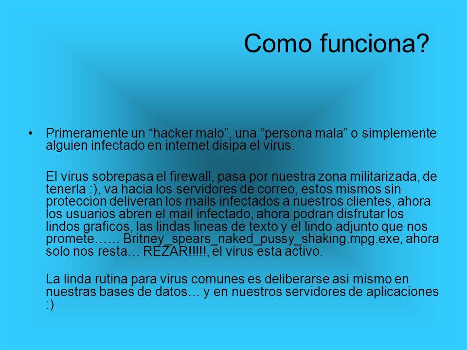Primeramente un hacker malo, una persona mala o simplemente alguien infectado en internet disipa el virus. El virus sobrepasa el firewall, pasa por nu