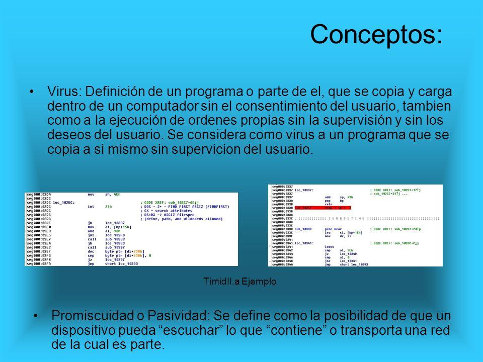 Virus: Definición de un programa o parte de el, que se copia y carga dentro de un computador sin el consentimiento del usuario, tambien como a la ejec