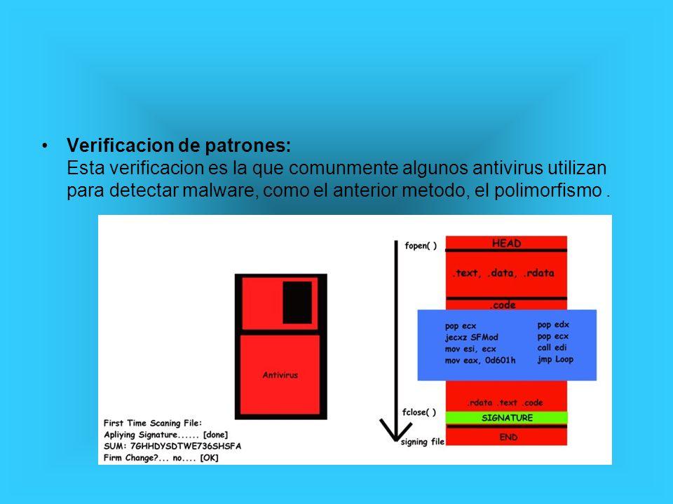 Verificacion de patrones: Esta verificacion es la que comunmente algunos antivirus utilizan para detectar malware, como el anterior metodo, el polimor