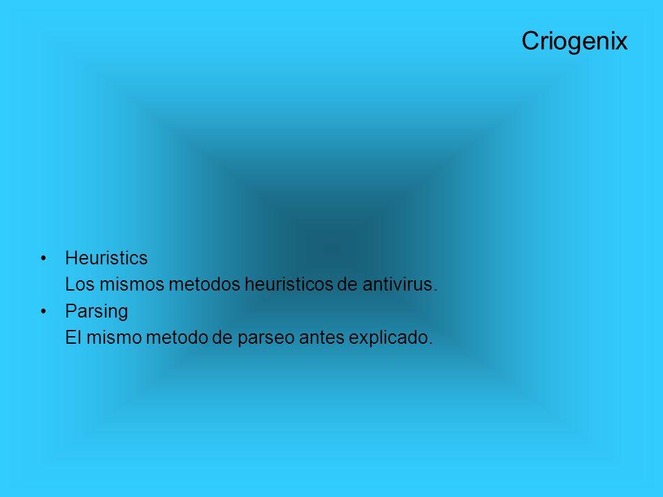 Heuristics Los mismos metodos heuristicos de antivirus. Parsing El mismo metodo de parseo antes explicado. Criogenix