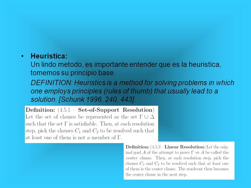Heuristica: Un lindo metodo, es importante entender que es la heuristica, tomemos su principio base. DEFINITION: Heuristics is a method for solving pr
