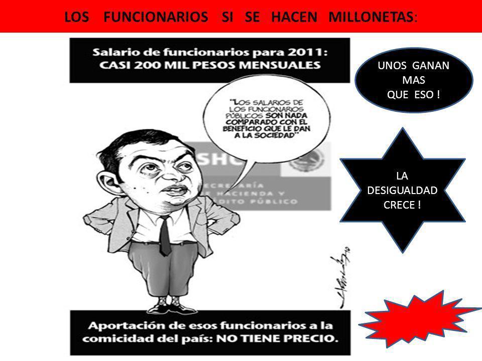 LOS FUNCIONARIOS SI SE HACEN MILLONETAS: LA DESIGUALDAD CRECE ! UNOS GANAN MAS QUE ESO !