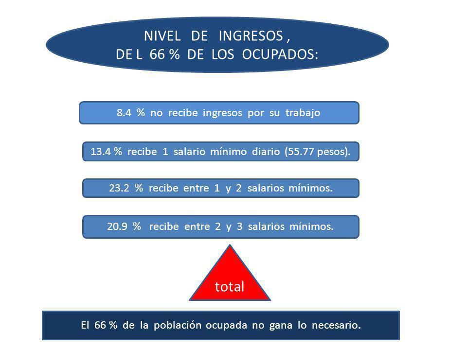 NIVEL DE INGRESOS, DE L 66 % DE LOS OCUPADOS: 8.4 % no recibe ingresos por su trabajo 13.4 % recibe 1 salario mínimo diario (55.77 pesos). 23.2 % reci