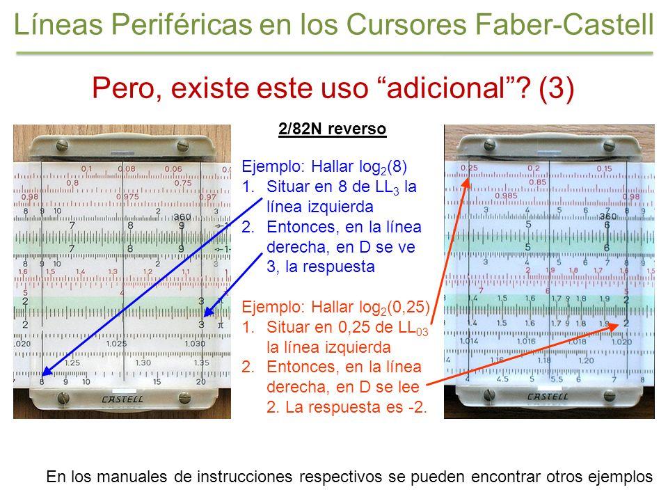 Pero, existe este uso adicional? (3) 2/82N reverso Ejemplo: Hallar log 2 (8) 1.Situar en 8 de LL 3 la línea izquierda 2.Entonces, en la línea derecha,