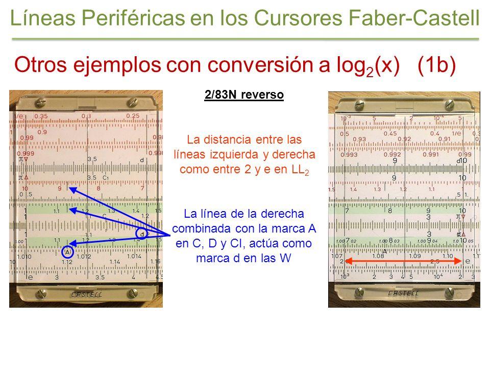 2/83N reverso La línea de la derecha combinada con la marca A en C, D y CI, actúa como marca d en las W Otros ejemplos con conversión a log 2 (x) (1b)