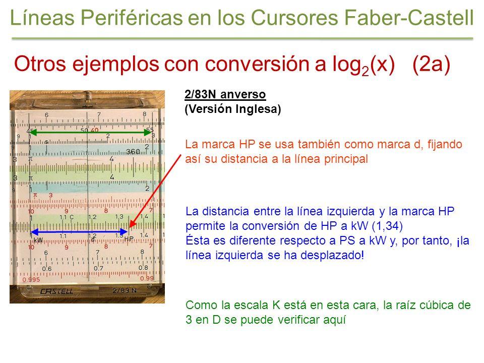 2/83N anverso (Versión Inglesa) Otros ejemplos con conversión a log 2 (x) (2a) Líneas Periféricas en los Cursores Faber-Castell La distancia entre la