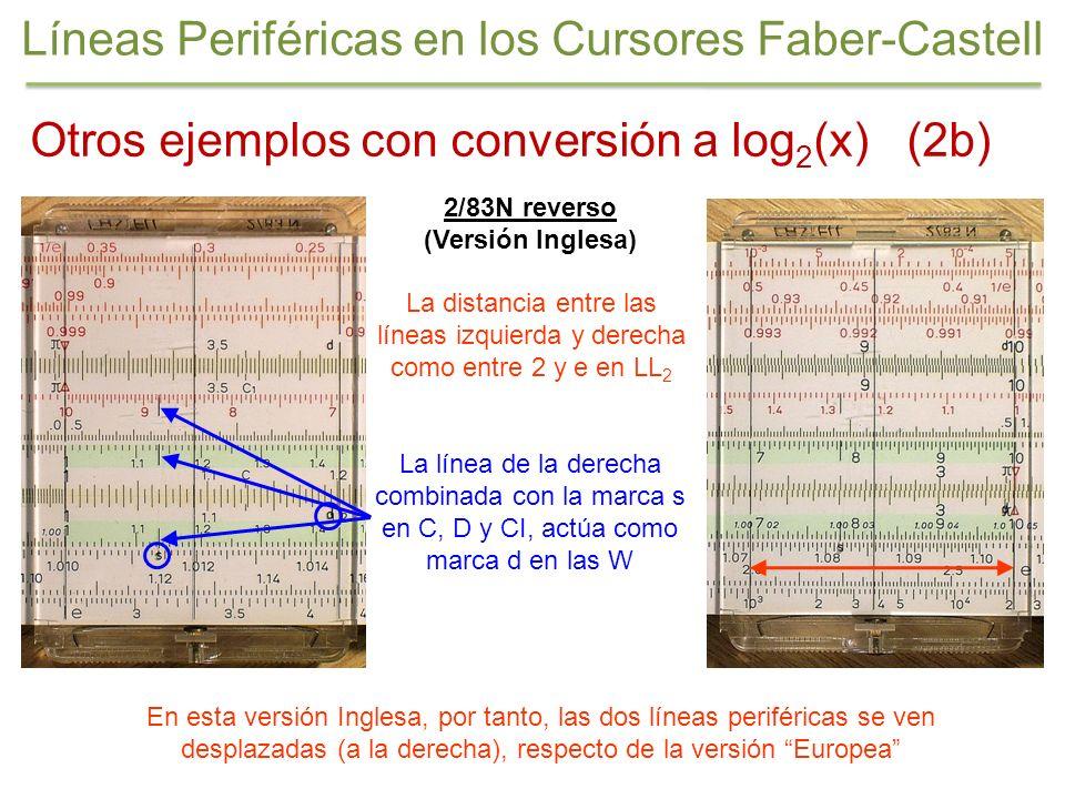 2/83N reverso (Versión Inglesa) Otros ejemplos con conversión a log 2 (x) (2b) Líneas Periféricas en los Cursores Faber-Castell La línea de la derecha