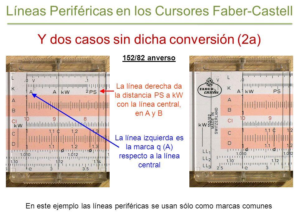 152/82 anverso La línea izquierda es la marca q (A) respecto a la línea central La línea derecha da la distancia PS a kW con la línea central, en A y