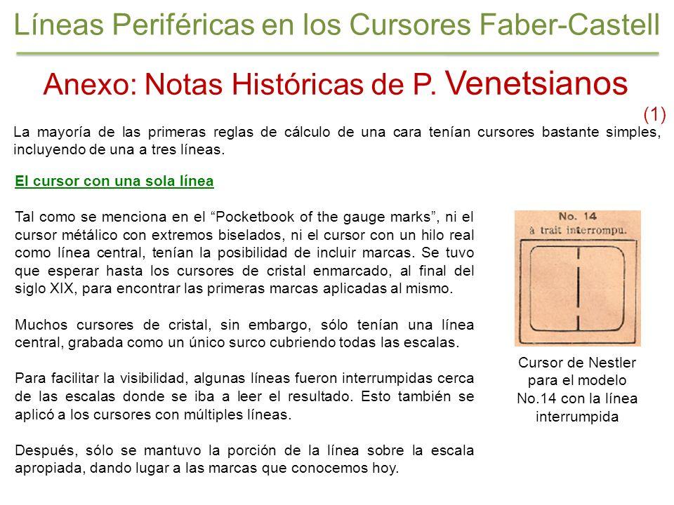 Anexo: Notas Históricas de P. Venetsianos (1) La mayoría de las primeras reglas de cálculo de una cara tenían cursores bastante simples, incluyendo de