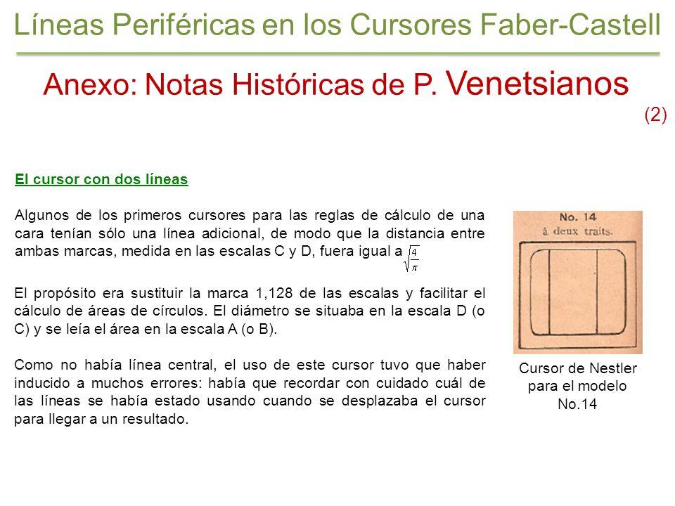Anexo: Notas Históricas de P. Venetsianos (2) El cursor con dos líneas Algunos de los primeros cursores para las reglas de cálculo de una cara tenían