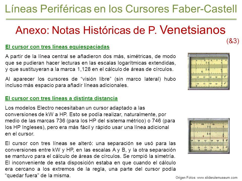Anexo: Notas Históricas de P. Venetsianos (&3) El cursor con tres líneas equiespaciadas A partir de la línea central se añadieron dos más, simétricas,