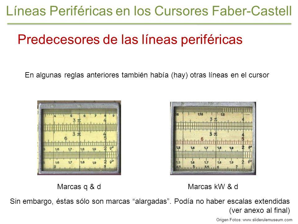 Predecesores de las líneas periféricas En algunas reglas anteriores también había (hay) otras líneas en el cursor Sin embargo, éstas sólo son marcas a