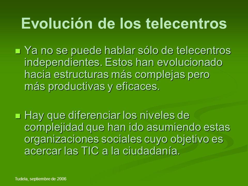 Tudela, septiembre de 2006 Evolución de los telecentros Ya no se puede hablar sólo de telecentros independientes.