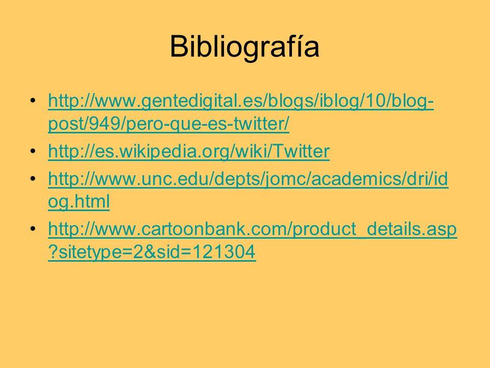 Bibliografía http://www.gentedigital.es/blogs/iblog/10/blog- post/949/pero-que-es-twitter/http://www.gentedigital.es/blogs/iblog/10/blog- post/949/pero-que-es-twitter/ http://es.wikipedia.org/wiki/Twitter http://www.unc.edu/depts/jomc/academics/dri/id og.htmlhttp://www.unc.edu/depts/jomc/academics/dri/id og.html http://www.cartoonbank.com/product_details.asp sitetype=2&sid=121304http://www.cartoonbank.com/product_details.asp sitetype=2&sid=121304