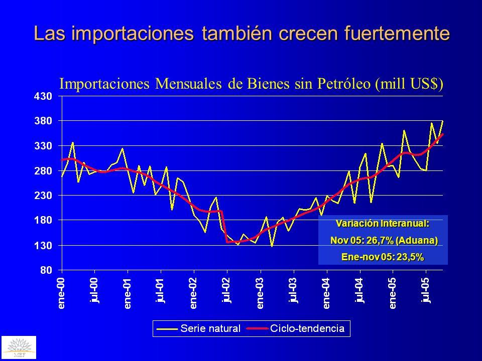 Las importaciones también crecen fuertemente Importaciones Mensuales de Bienes sin Petróleo (mill US$) MEF Variación Interanual: Nov 05: 26,7% (Aduana) Nov 05: 26,7% (Aduana) Ene-nov 05: 23,5%