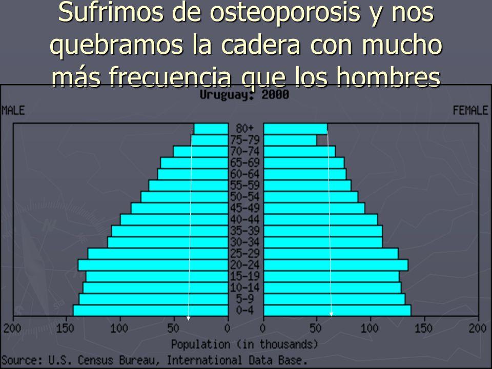 Sufrimos de osteoporosis y nos quebramos la cadera con mucho más frecuencia que los hombres