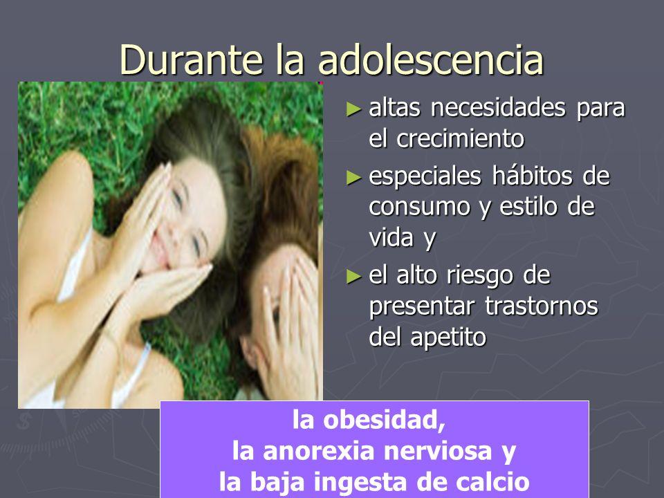 Durante la adolescencia altas necesidades para el crecimiento especiales hábitos de consumo y estilo de vida y el alto riesgo de presentar trastornos del apetito la obesidad, la anorexia nerviosa y la baja ingesta de calcio