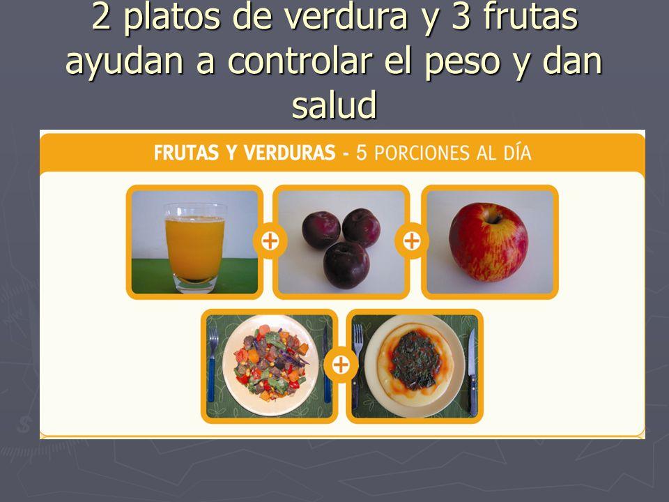 2 platos de verdura y 3 frutas ayudan a controlar el peso y dan salud
