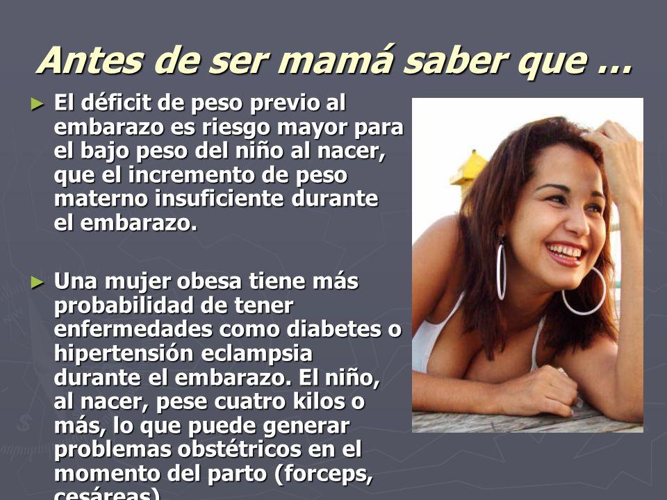 Antes de ser mamá saber que … El déficit de peso previo al embarazo es riesgo mayor para el bajo peso del niño al nacer, que el incremento de peso materno insuficiente durante el embarazo.