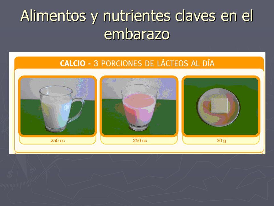 Alimentos y nutrientes claves en el embarazo