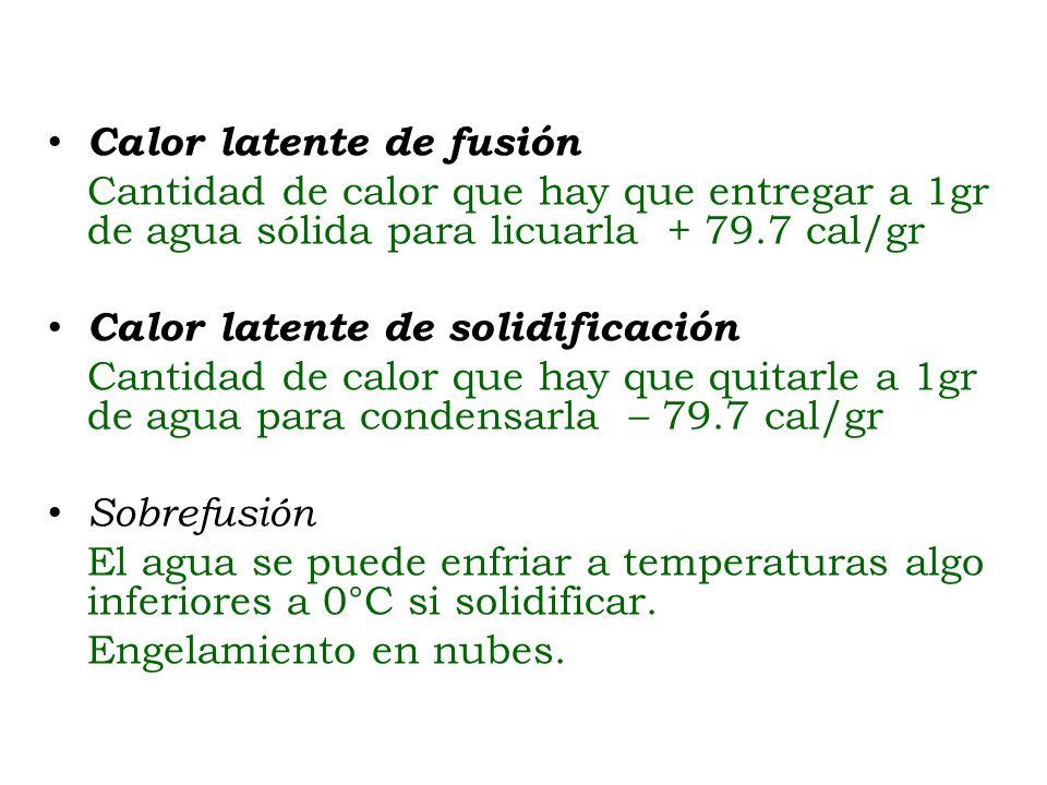 Calor latente de fusión Cantidad de calor que hay que entregar a 1gr de agua sólida para licuarla + 79.7 cal/gr Calor latente de solidificación Cantid