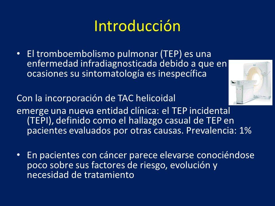 Introducción El tromboembolismo pulmonar (TEP) es una enfermedad infradiagnosticada debido a que en ocasiones su sintomatología es inespecífica Con la