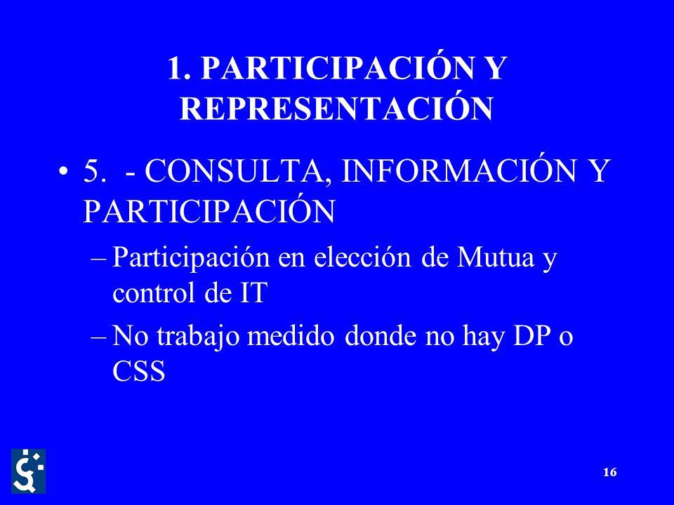 16 1. PARTICIPACIÓN Y REPRESENTACIÓN 5.