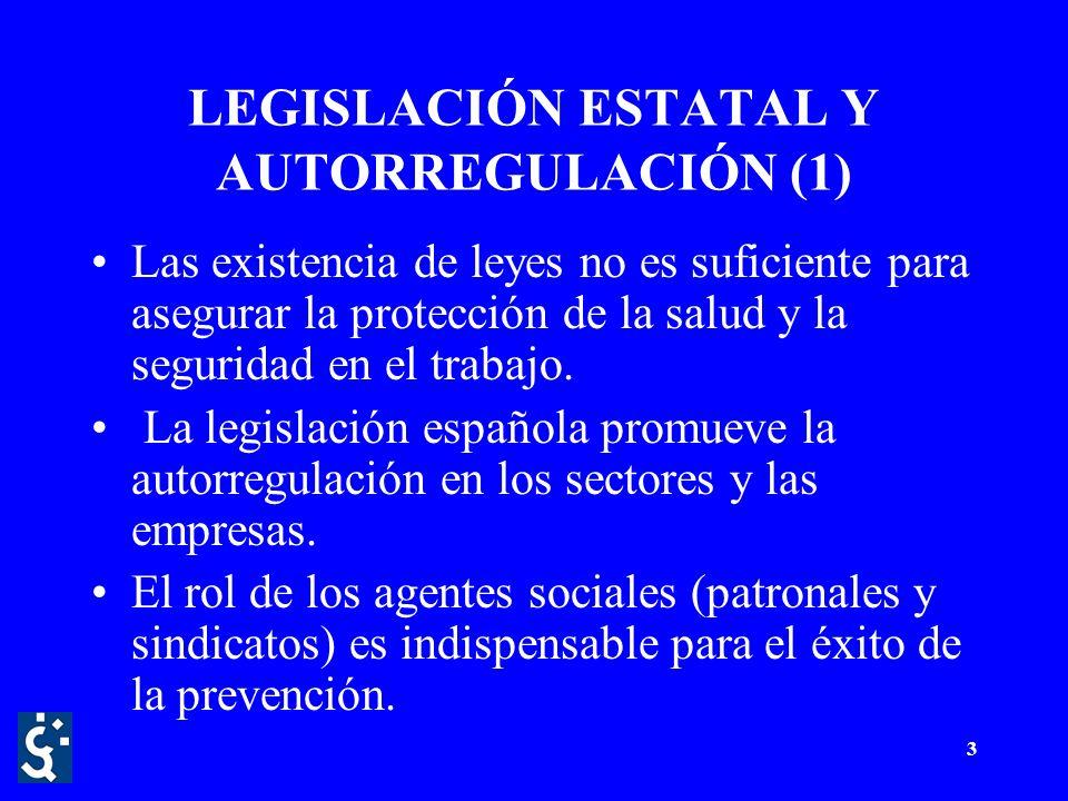 3 LEGISLACIÓN ESTATAL Y AUTORREGULACIÓN (1) Las existencia de leyes no es suficiente para asegurar la protección de la salud y la seguridad en el trabajo.