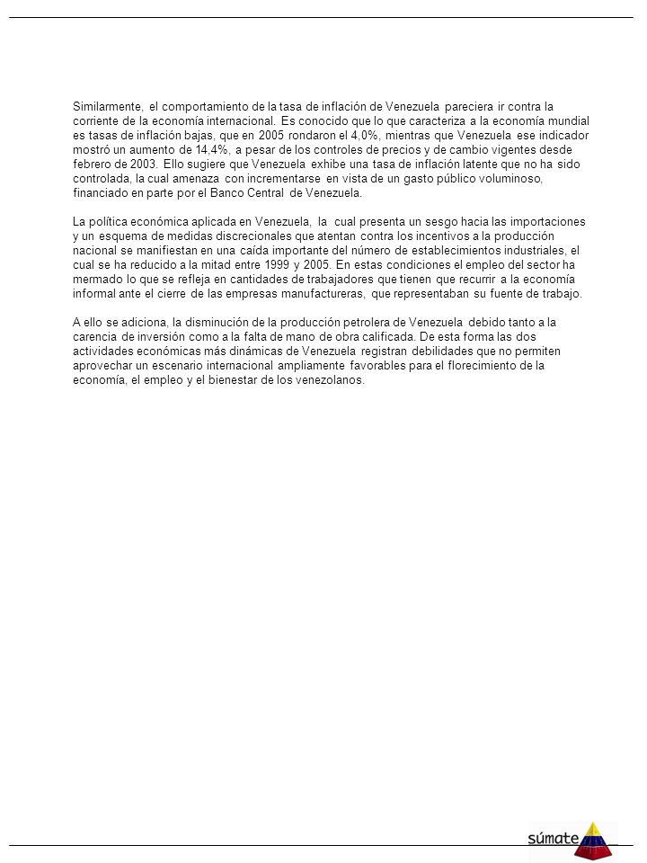 4 Similarmente, el comportamiento de la tasa de inflación de Venezuela pareciera ir contra la corriente de la economía internacional.