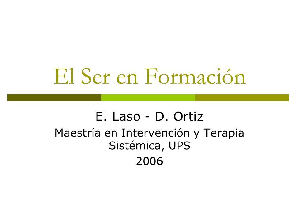 El Ser en Formación E. Laso - D. Ortiz Maestría en Intervención y Terapia Sistémica, UPS 2006