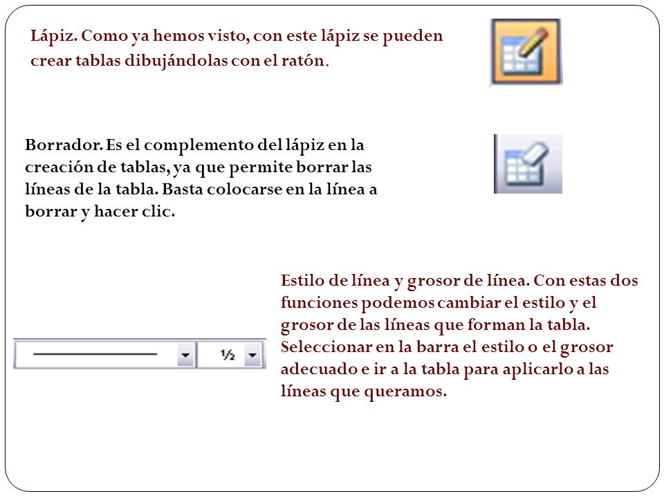 TABLAS Y BORDES Para abrir esta barra de herramientas, ir al menú Ver, Barras de herramientas y seleccionar tablas y bordes. Vamos a ver las funciones