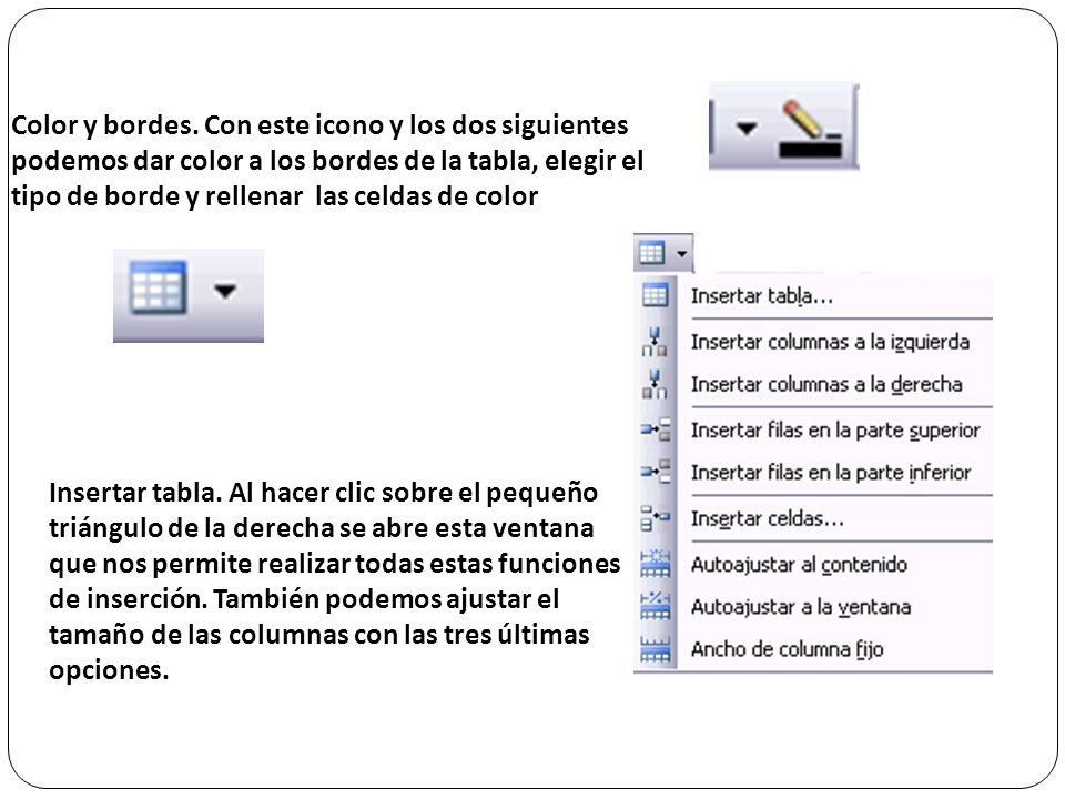 Lápiz. Como ya hemos visto, con este lápiz se pueden crear tablas dibujándolas con el ratón. Borrador. Es el complemento del lápiz en la creación de t